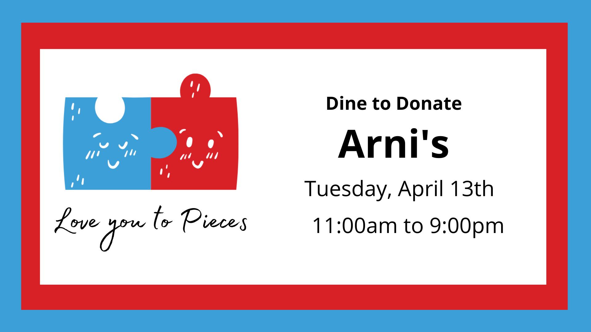 Dine to Donate - Arni's Restaurant (Greenwood)